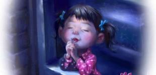 Little girl praying at night