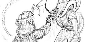 Dallas vs The Alien (pencil sketch)